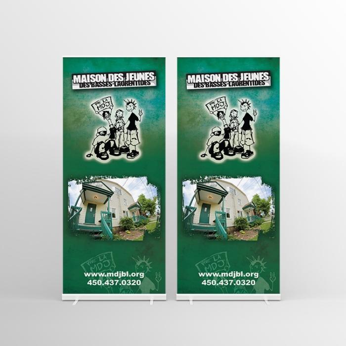Design graphique des bannières déroulantes pour la Maison des jeunes des Basses-Laurentides